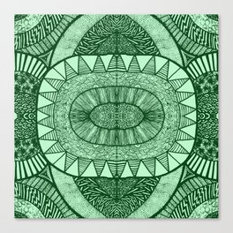Grassy Green Tangled Mania Pattern Doodle Design Canvas Print