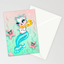 Tropical Merkitten with Lei and Starfish Stationery Cards
