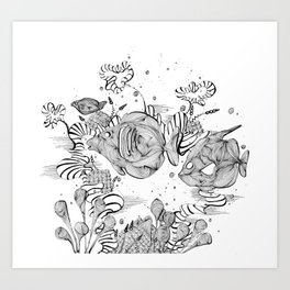Underwater Tropical Fish Line Art Art Print
