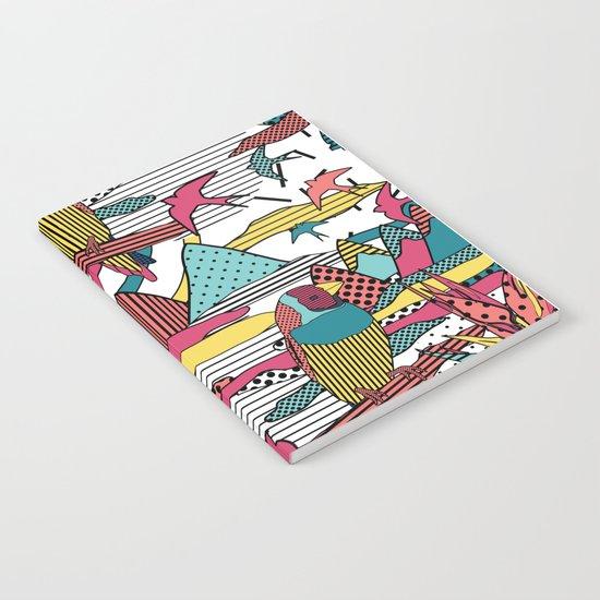 Pop art memphis 80's bird print Notebook