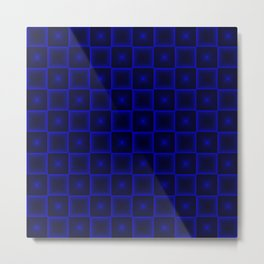 A chaotic cell of raised squares with violet intersecting spotted stars and highlights. Metal Print
