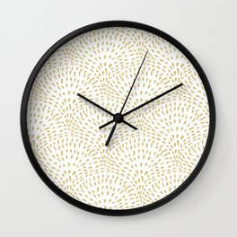 Sketched Line Art Clamshells in Mustard Yellow Wall Clock