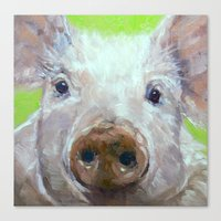 piglet Canvas Prints featuring Pink Piglet by Ruth Andre