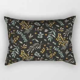 Australian native wattle eucalyptus watercolor floral black Rectangular Pillow