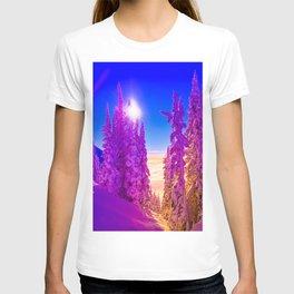 winter mountain forest gradient 669 T-shirt