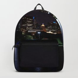 Chicago night skyline with fireworks, Usa. Backpack