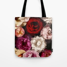 Pink, White, and Red Roses Tote Bag