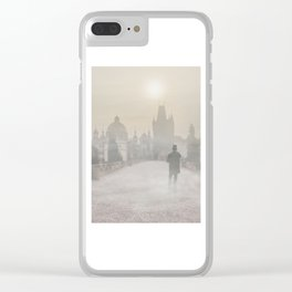 Prague in the morning fog Clear iPhone Case