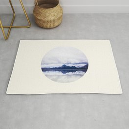 Mid Century Modern Round Circle Photo Graphic Design Navy Blue Arctic Mountains Rug