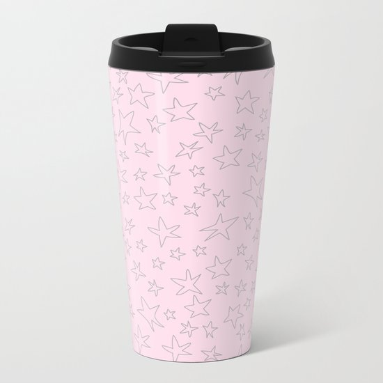 Grey handpainted little stars on pink background Metal Travel Mug