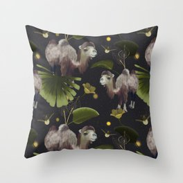 Camels and nature Throw Pillow
