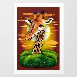 Giraffe on Wild African Savanna Sunset Art Print