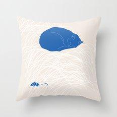 Blue Cat poster Throw Pillow