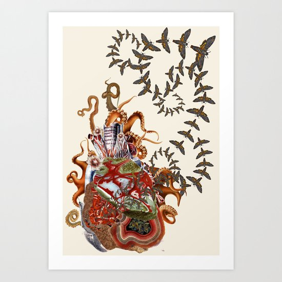 This is what it feels like anatomical heart collage art by bedelgeuse Art Print