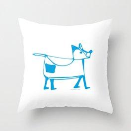 Funny dog white-blue pattern Throw Pillow