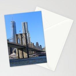 Brooklyn Bridge with Manhattan Skyline and One World Tower Stationery Cards