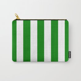 Green (HTML/CSS color) - solid color - white vertical lines pattern Carry-All Pouch
