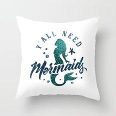 Mermaids - aqua and green glitter design Throw Pillow