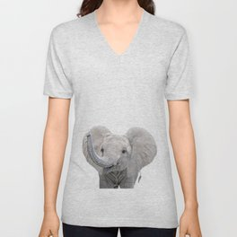 Elephant Calf Art Unisex V-Neck
