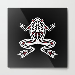 Black and White Frog Tribal Digital Art Metal Print