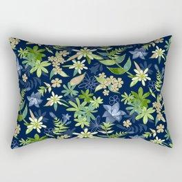 Alpine Flowers Blue - Gentian, Edelweiss Rectangular Pillow