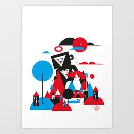 Monkey in the city Art Print