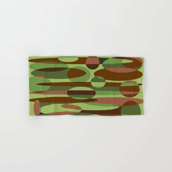 Trendy Green and Brown Camouflage Spheres Hand & Bath Towel