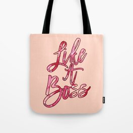Like a Boss Popular Quote Acrylic Paint Pink Red Tote Bag