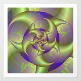 Spiral Pincers in Blue and Green Art Print