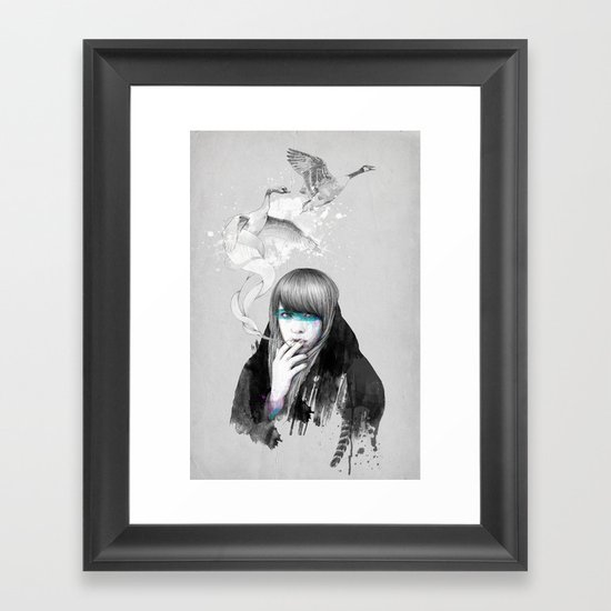 Swan Love Framed Art Print