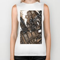 cityscape Biker Tanks featuring Cityscape by David Miley