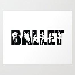 Ballet in Black with Ballerina Cutouts Art Print