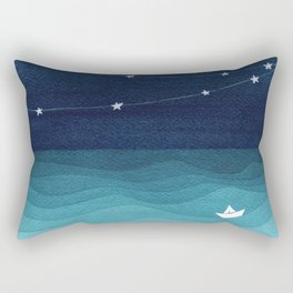 Garlands of stars, watercolor teal ocean Rectangular Pillow