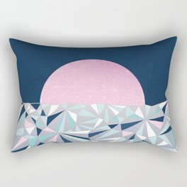 Geometric Sunset - Navy Blue and Pink Rectangular Pillow