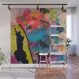Lady Liberty Butterfly Explosion Wall Mural