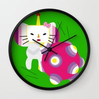 katamari Wall Clocks featuring Katamari Kitty by MatchaMartine