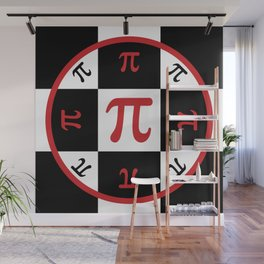 Math Geek Chic Number Pi In Red Black and White Wall Mural