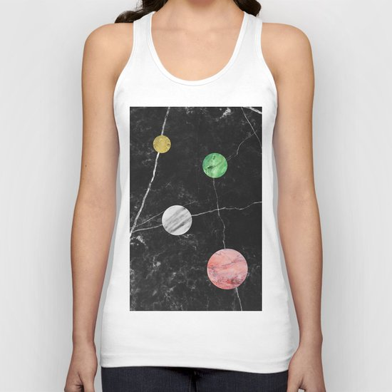 Black Marble with Polka Dots Unisex Tank Top