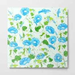 blue morning glory pattern Metal Print