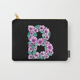 Letter B - Black - Watercolor and Inked Carry-All Pouch