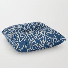 Modern navy blue ivory hand painted floral mandala Floor Pillow