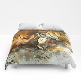 Watercolor Galloping Horses On Raw Canvas | Splatter Painting Comforters