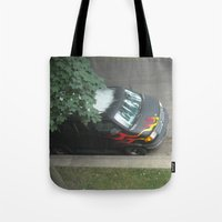 70s Tote Bags featuring Smokin'! ~ 70s-ish van by helene smith photography