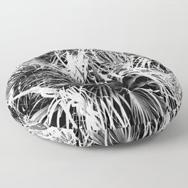 Palm Fronds In Black and White Abstract Photography Floor Pillow