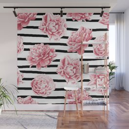 Simply Drawn Stripes and Roses Wall Mural