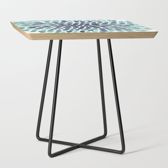 Flower_Bloom_Aqua_and_Navy_Side_Table_by_Megan_Morris__Black__Square