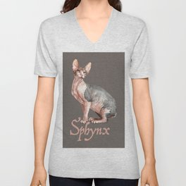 Sphynx watercolour Cat Unisex V-Neck