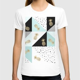 Pastel color block watercolor dots faux gold pineapple T-shirt
