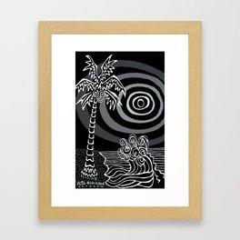 Invert Palms and Waves Framed Art Print