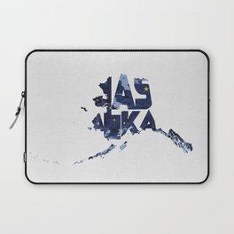 Alaska Typographic Flag Map Laptop Sleeve